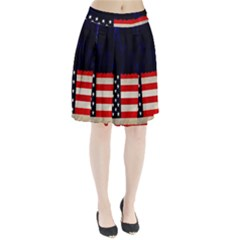 Grunge American Flag Background Pleated Skirt