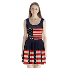 Grunge American Flag Background Split Back Mini Dress