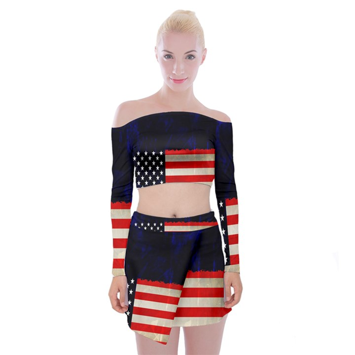 Grunge American Flag Background Off Shoulder Top with Skirt Set