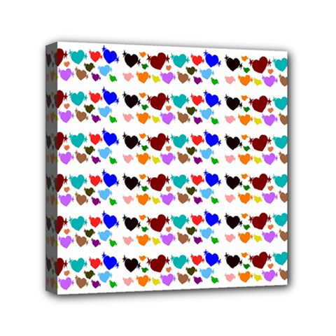 A Creative Colorful Background With Hearts Mini Canvas 6  x 6
