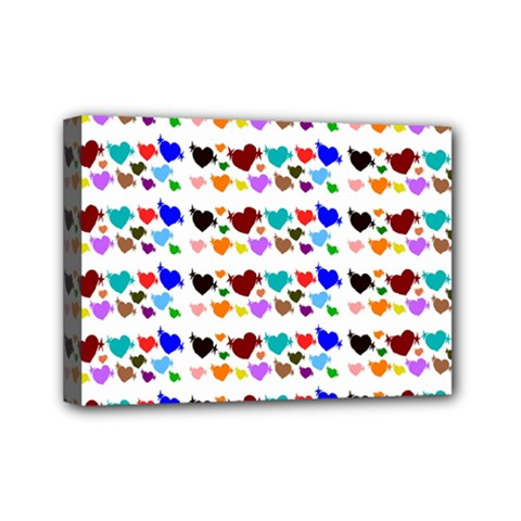 A Creative Colorful Background With Hearts Mini Canvas 7  x 5