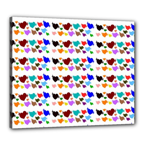 A Creative Colorful Background With Hearts Canvas 24  X 20