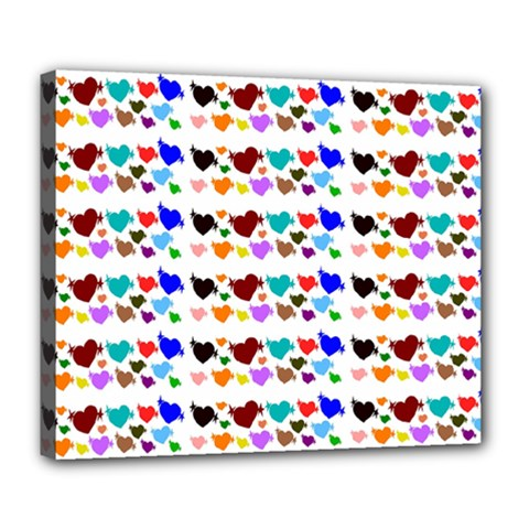 A Creative Colorful Background With Hearts Deluxe Canvas 24  x 20
