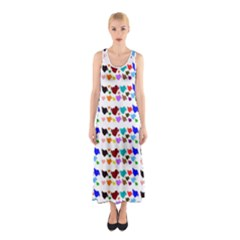 A Creative Colorful Background With Hearts Sleeveless Maxi Dress