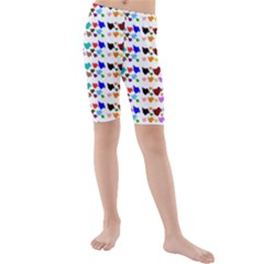 A Creative Colorful Background With Hearts Kids  Mid Length Swim Shorts