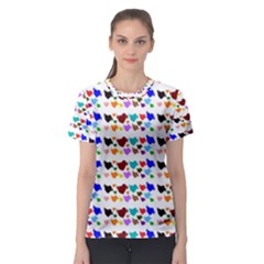 A Creative Colorful Background With Hearts Women s Sport Mesh Tee