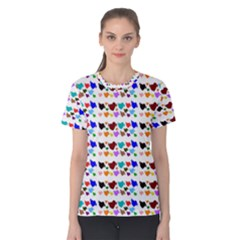 A Creative Colorful Background With Hearts Women s Cotton Tee