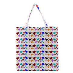 A Creative Colorful Background With Hearts Grocery Tote Bag
