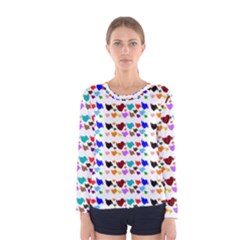 A Creative Colorful Background With Hearts Women s Long Sleeve Tee