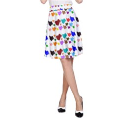 A Creative Colorful Background With Hearts A-Line Skirt
