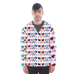 A Creative Colorful Background With Hearts Hooded Wind Breaker (Men)