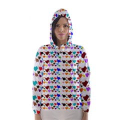 A Creative Colorful Background With Hearts Hooded Wind Breaker (women)