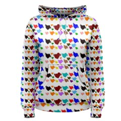 A Creative Colorful Background With Hearts Women s Pullover Hoodie