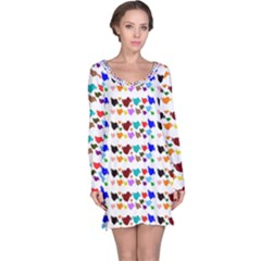 A Creative Colorful Background With Hearts Long Sleeve Nightdress