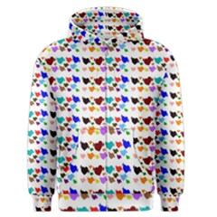 A Creative Colorful Background With Hearts Men s Zipper Hoodie