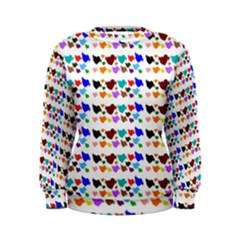 A Creative Colorful Background With Hearts Women s Sweatshirt