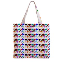 A Creative Colorful Background With Hearts Zipper Grocery Tote Bag
