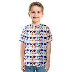 A Creative Colorful Background With Hearts Kids  Sport Mesh Tee