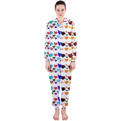 A Creative Colorful Background With Hearts Hooded Jumpsuit (Ladies)
