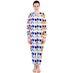 A Creative Colorful Background With Hearts Onepiece Jumpsuit (ladies)