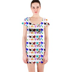 A Creative Colorful Background With Hearts Short Sleeve Bodycon Dress