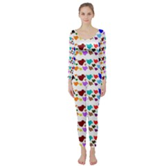 A Creative Colorful Background With Hearts Long Sleeve Catsuit