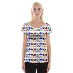 A Creative Colorful Background With Hearts Women s Cap Sleeve Top