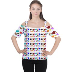 A Creative Colorful Background With Hearts Women s Cutout Shoulder Tee