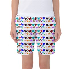 A Creative Colorful Background With Hearts Women s Basketball Shorts