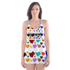 A Creative Colorful Background With Hearts Skater Dress Swimsuit