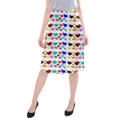 A Creative Colorful Background With Hearts Midi Beach Skirt