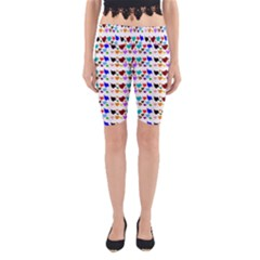 A Creative Colorful Background With Hearts Yoga Cropped Leggings
