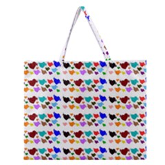 A Creative Colorful Background With Hearts Zipper Large Tote Bag