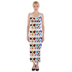 A Creative Colorful Background With Hearts Fitted Maxi Dress