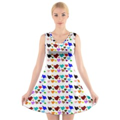 A Creative Colorful Background With Hearts V Neck Sleeveless Skater Dress