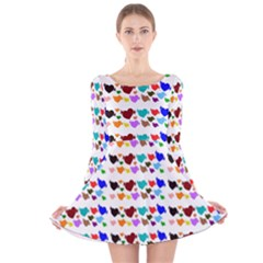 A Creative Colorful Background With Hearts Long Sleeve Velvet Skater Dress