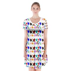 A Creative Colorful Background With Hearts Short Sleeve V-neck Flare Dress