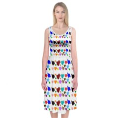 A Creative Colorful Background With Hearts Midi Sleeveless Dress