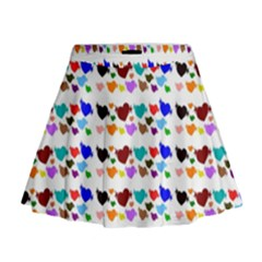 A Creative Colorful Background With Hearts Mini Flare Skirt