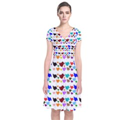 A Creative Colorful Background With Hearts Short Sleeve Front Wrap Dress