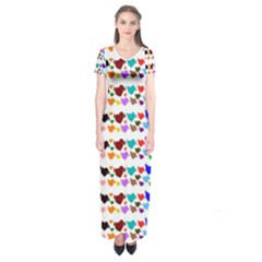 A Creative Colorful Background With Hearts Short Sleeve Maxi Dress