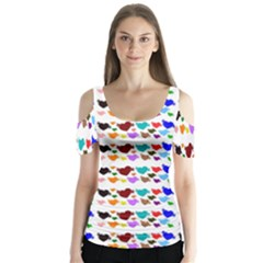 A Creative Colorful Background With Hearts Butterfly Sleeve Cutout Tee