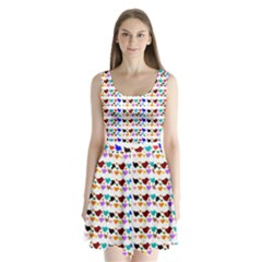 A Creative Colorful Background With Hearts Split Back Mini Dress