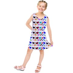 A Creative Colorful Background With Hearts Kids  Tunic Dress