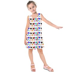 A Creative Colorful Background With Hearts Kids  Sleeveless Dress