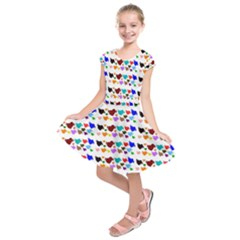 A Creative Colorful Background With Hearts Kids  Short Sleeve Dress