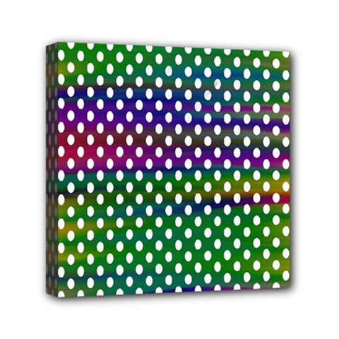 Digital Polka Dots Patterned Background Mini Canvas 6  x 6