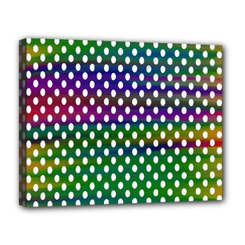 Digital Polka Dots Patterned Background Canvas 14  x 11