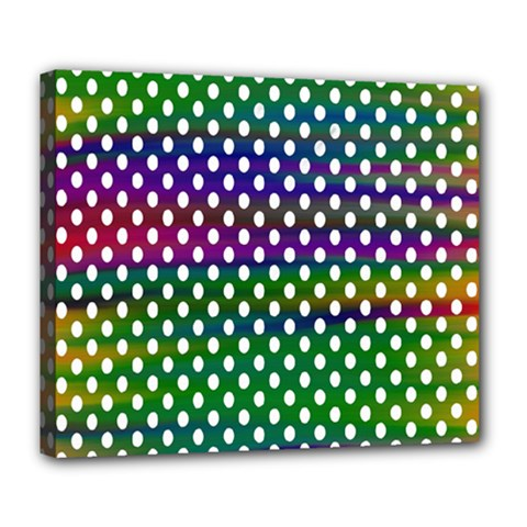 Digital Polka Dots Patterned Background Deluxe Canvas 24  X 20