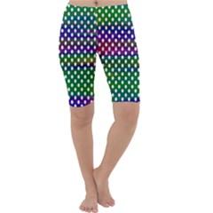 Digital Polka Dots Patterned Background Cropped Leggings